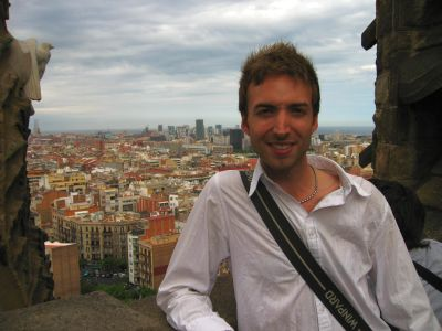 Mons atop the Sagrada Familia Cathedral in Barcelona - Still sick from bad Moroccan Tajine.